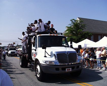 football team on Cofer truck